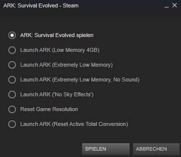 Ark Startoptionen